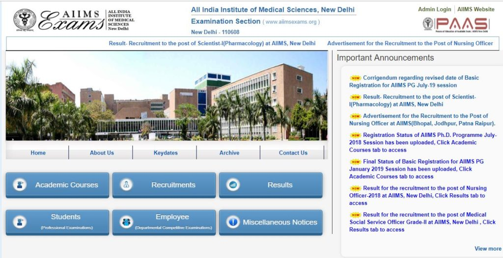 aiims official website